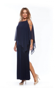 Layla Jones collection, Style Code LJ 0081, Long stretch jersey dress with chiffon overlay and