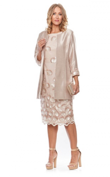 Layla Jones collection, Style Code LJ0131, Short embroidered mesh dress with shantung jacket