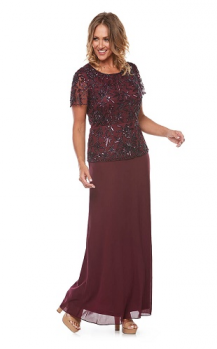 Layla Jones collection, Style Code LJ0137, Beaded sequin short sleeve dress with chiffon skirt.
