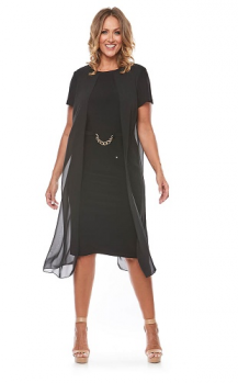 Layla Jones collection, Style Code LJ0141, Short stretch jersey dress with chiffon overlay jacket and chain trim.