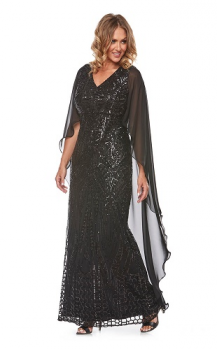 Layla Jones collection, Style Code LJ0146, Long sequin mesh dress with attached chiffon cape.