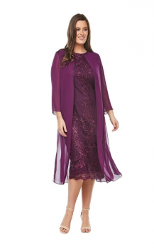 Layla Jones collection, Style Code LJ0161, Mid length embroidered dress with 3/4 length chiffon jacket