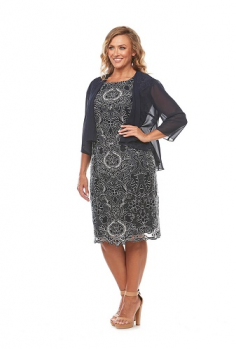 Layla Jones collection, Style Code LJ0225, Corded lace dress with chiffon jacket.