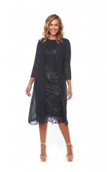 Layla Jones collection, Style Code LJ0229, Mid length sequin lace dress with 3/4 chiffon jacket.