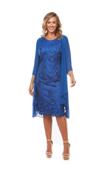 Layla Jones collection, Style Code LJ0230, Embroidered lace dress with 3/4 chiffon jacket