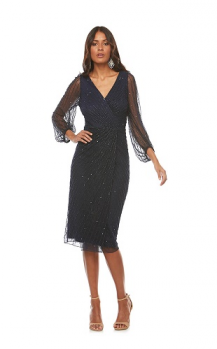 Layla Jones collection, Style Code LJ0236, Cocktail beaded wrap dress with peasant sleeve.