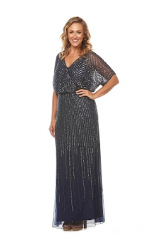 Layla Jones collection, Style Code LJ0253, Long beaded dress with a blouson wrap bodice.