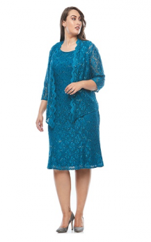 Layla Jones collection, Style Code LJ0315, Stretch sequin lace dress with scalloped jacket.