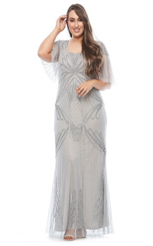 Layla Jones collection, Style Code LJ0325, Long beaded dress with soft beaded short sleeve