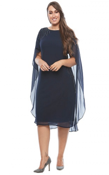 Layla Jones collection, Style Code LJ0329, Stunning sheer cape cocktail dress.
