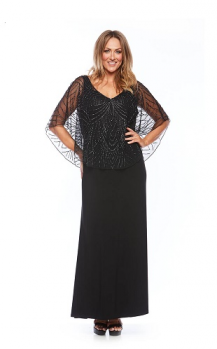 Layla Jones collection, Style Code lj0045, Long stretch jersey dress with beaded cape.