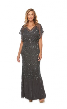 Layla Jones collection, Style Code lj0249, Long beaded dress with a blouson bodice