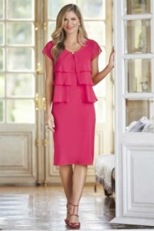 Eve Hunter collection, Style Code H5106, 1PC: W/melon Pink, Chiffon Top, Stretch Fabric Dre