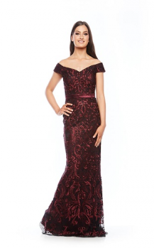 Zaliea collection, Style Code Z 0044, Long off the shoulder lace dress.