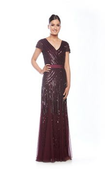 Zaliea collection, Style Code Z0002, Cap sleeve beaded dress with satin waistband.