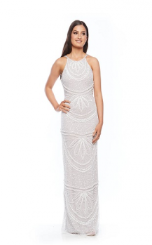 Zaliea collection, Style Code Z0028, Long cut away shoulders, pearl beaded dress