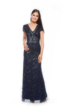 Zaliea collection, Style Code Z0047, Cap sleeve, long sequin beaded dress