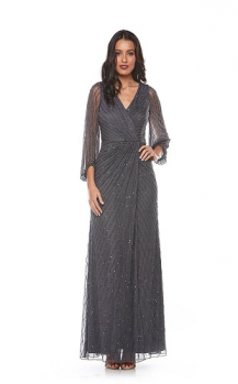 Zaliea collection, Style Code Z0066, Long beaded dress with 3/4 blouson sleeve.
