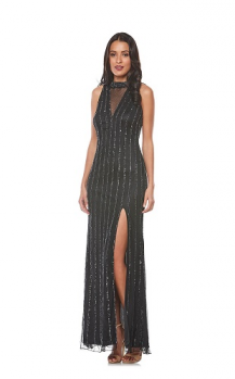 Zaliea collection, Style Code Z0070, Long beaded dress with mesh insert and front split