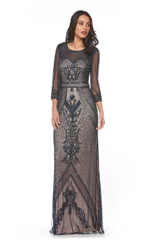 Zaliea collection, Style Code Z0071, Long 3/4 sleeve beaded dress.