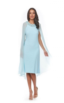Zaliea collection, Style Code Z0078, Short stretch jersey dress with attached chiffon cape and beaded trim.