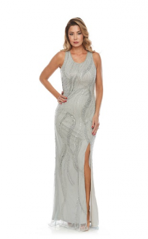Zaliea collection, Style Code Z0080, Long beaded dress with front split.