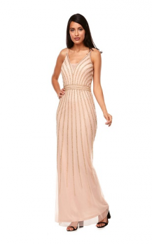 Zaliea collection, Style Code Z0118, Long chiffon beaded dress with thin spaghetti straps and sheer V neck insert.