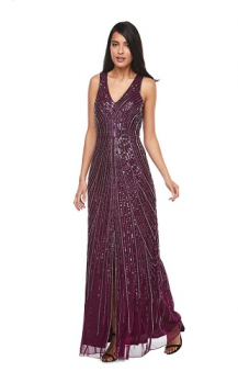 Zaliea collection, Style Code Z0123, Long beaded chiffon V neck with front split.